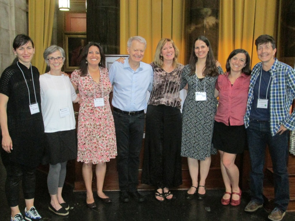 Mark Bly with the Bly Fellows [l-r]: Jessica Grindstaff, Janice Paran, Lydia Garcia, Mark Bly, Philippa Kelly, Katalin Trencsényi, Heidi Taylor and Jan Derbyshire at the LMDA 30th anniversary conference, New York, Columbia University, 2015. Photo: Cynthia SoRelle
