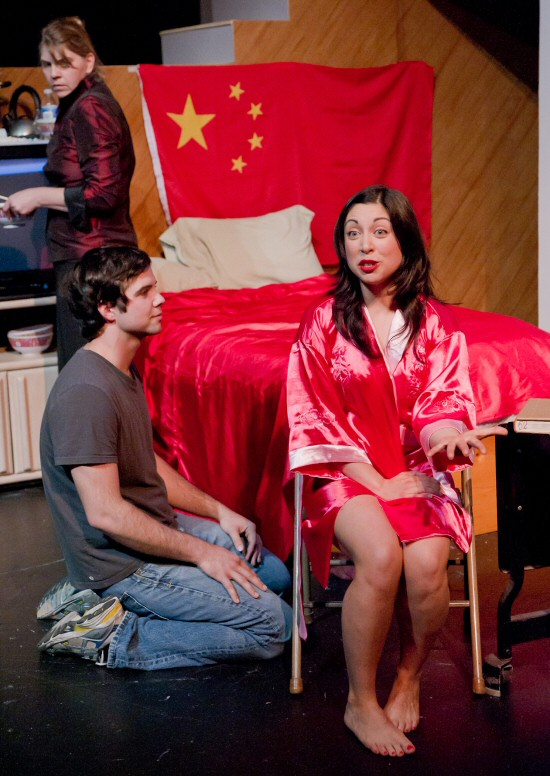 Clockwise from top left: JanLee Marshall (Sandra), Erika Salazar (Samantha), and Tom Lazur (Robert) in Beijing, California, by Paul Heller, dir. Duy Nguyen. Thick House Theater, San Francisco, CA, prod. Asian American Theater Company, San Francisco. Photo Guy Stilson