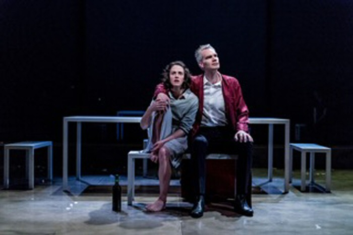 Jessica Brown Findlay and Angus Wright in Oresteia. By Manuel Harlan.