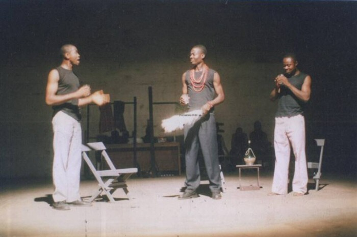 A shot from Femi Osofisan's production of A New Dawn in Isara, his stage adaptation of Wole Soyinka's Isara: A Voyage Round My Father.