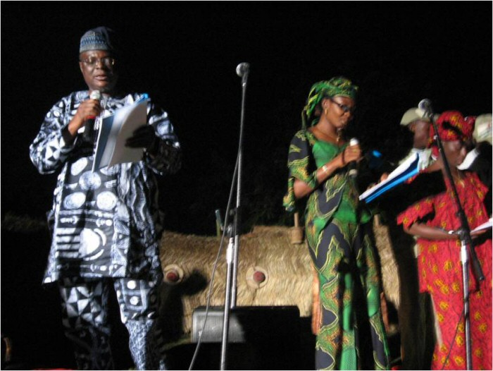 Femi Osofisan performing poetry in Abuja, on a night in his honor, at the Abuja Carnival.